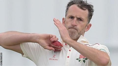 Graham Onions bowling for Lancashire