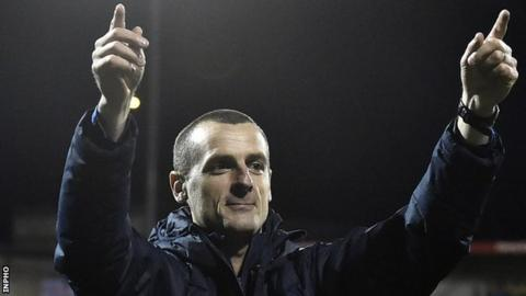 Oran Kearney celebrates after Coleraine's 3-0 win over Irish Premiership champions Crusaders on Monday