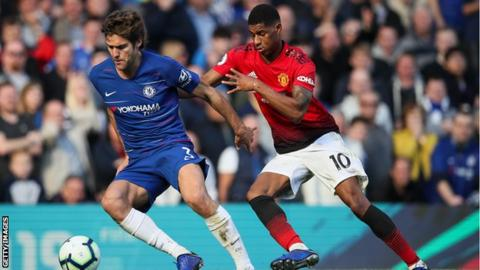 Marcos Alonso takes the ball away from Manchester United's Marcus Rashford
