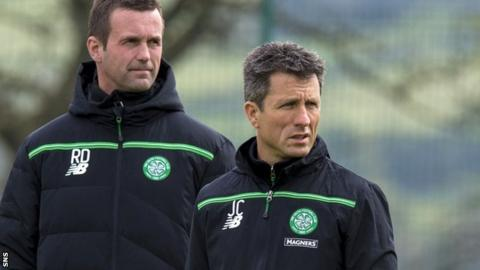 Celtic manager Ronny Deila (left) with assistant John Collins