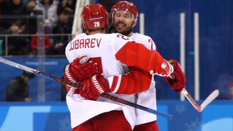 OAR celebrate in the men's hockey