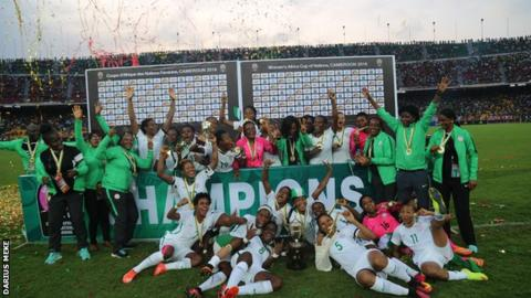 Nigeria celebrate winning the 2016 Women's Africa Cup of Nations in Cameroon
