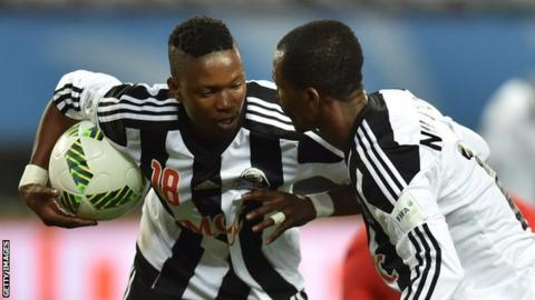 Rainford Kalaba (left) pulled a goal back for Mazembe but it was not enough