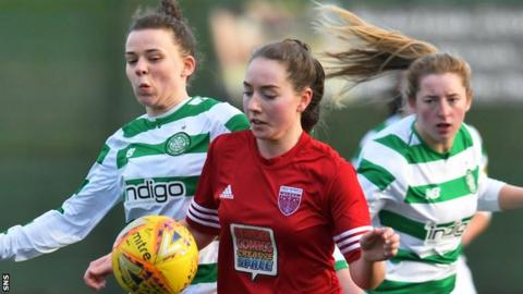 Celtic's Josi Giard competes with Forfar Farmington's Philippa Weber.