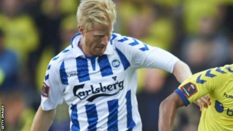 Thomas Mikkelsen in action for Odense this season