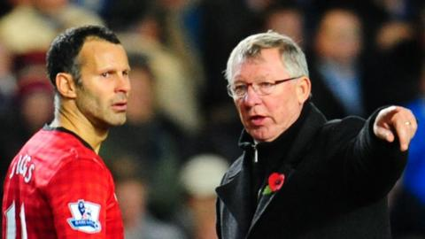 Sir Alex Ferguson gives Ryan Giggs instructions as Manchester United take on Chelsea in 2012