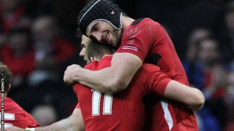 Luke Charteris hugs Liam Williams after Wales' win over Ireland in the 2015 Six Nations Championship
