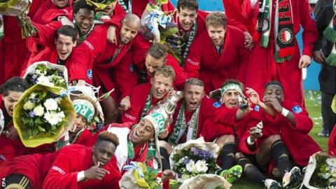 Feyenoord players celebrate winning the Dutch Cup