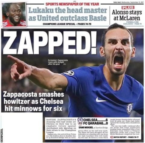 The Daily Mail lead with Blues debutant Davide Zappacosta