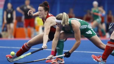 A tussle for the ball in Saturday's encounter between Wales and Ireland at Stadium Hoki Tun Razak