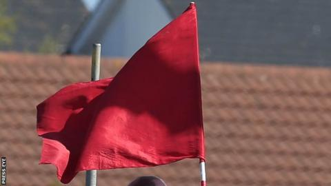 The red flags were displayed at Enniskillen during the Senior Support race