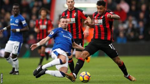 Bournemouth forward Joshua King in action against Everton