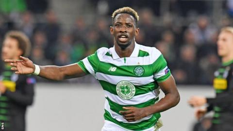 Celtic's Moussa Dembele celebrates his goal in Monchengladbach