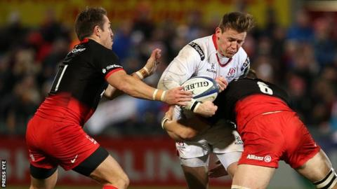 Action from Ulster v Saracens