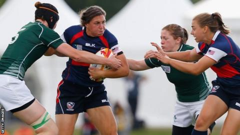 USA's Emilie Bydwell is tackled in the defeat by Ireland in the World Cup pool game four years ago
