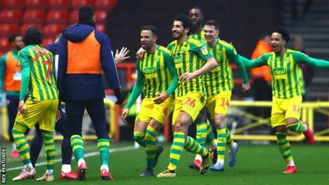 West Bromwich Albion celebrate their third goal at Bristol City