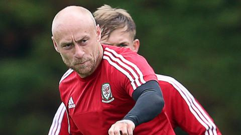 David Cotterill in training with Wales