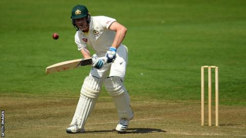 Australia batsman Cameron Bancroft plays a shot during a warm-up match