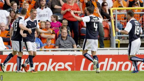 Kevin McHattie (second from left) celebrates equalising for Raith Rovers