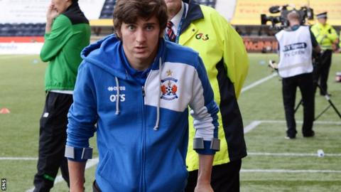 Kilmarnock's Chris Johnston in crutches