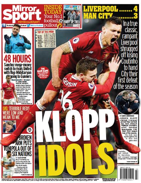The Mirror back page on Monday