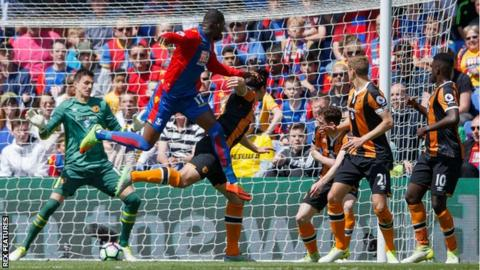 Christian Benteke scores Crystal Palace's second goal against Hull City