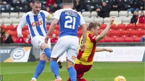 Kris Boyd scores the opening goal in Saturday's 2-0 win for Kilmarnock against Partick Thistle
