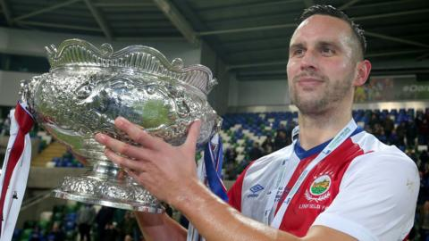 Andy Waterworth hit Linfield's winner in the League Cup final win over Ballymena United