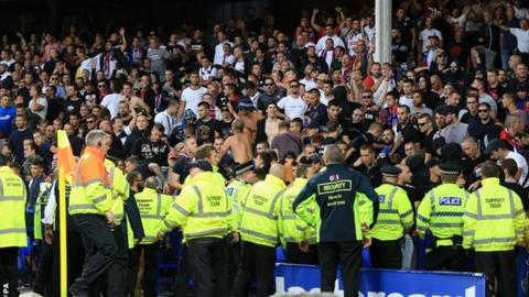 Crowd disturbance at Everton's game against Hajduk Split