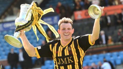 David Gormley celebrates Auchinleck Talbot's 2015 Scottish Junior Cup win
