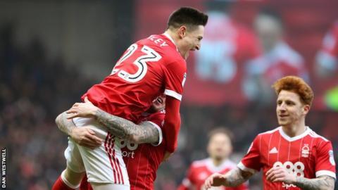 Joe Lolley celebrates scoring for Nottingham Forest against Birmingham City
