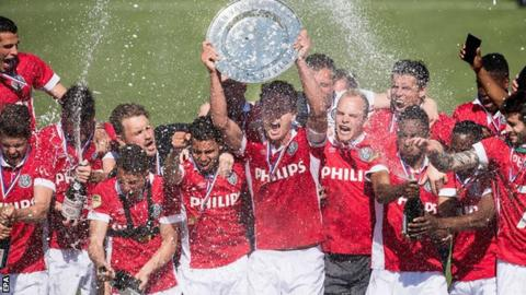 PSV Eindhoven celebrate winning the Dutch title