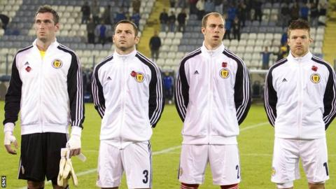 The Scotland players wore poppies on their tracksuits and on armbands in a match away to Cyprus on Armistice Day in 2011