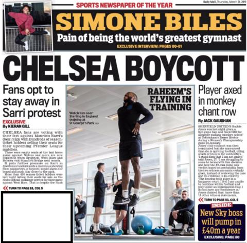 The Mail claims some Chelsea fans will boycott matches due to manager Maurizio Sarri