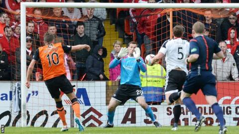 Robbie Muirhead scores for Dundee United against Aberdeen