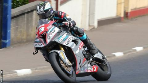 Michael Dunlop is riding a BMW in the colours of his own MD Racing team in the Superstock class