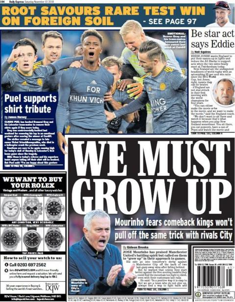 Express back page on Saturday