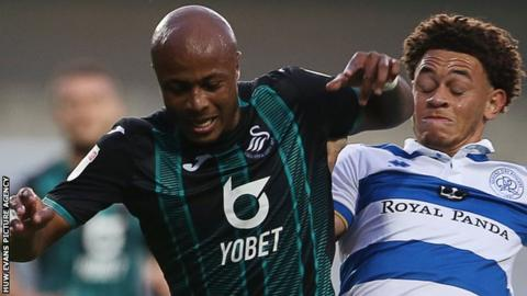 Andre Ayew in action against QPR