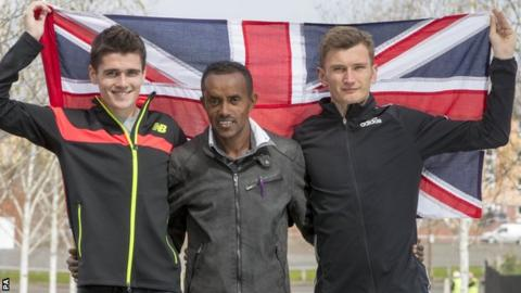 Callum Hawkins, Tsegai Tewelde and Derek Hawkins
