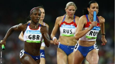 Marilyn Okoro competes for Great Britain at the 2008 Olympics