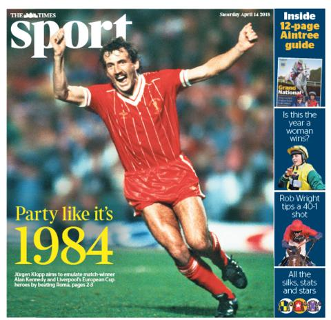 Times sport section on Saturday
