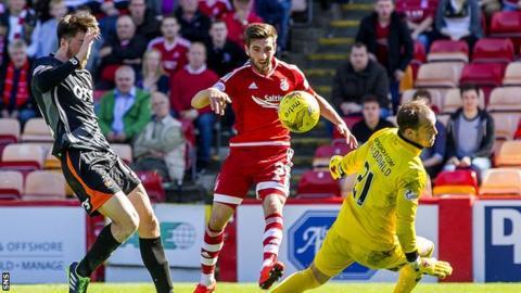 Graeme Shinnie scores his first goal for Aberdeen