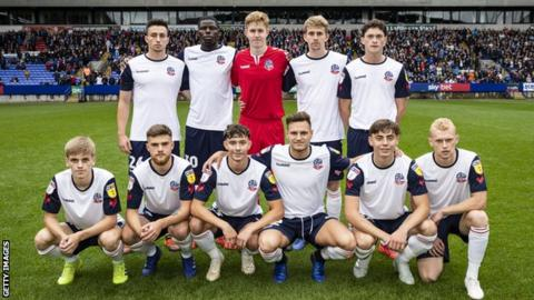 Bolton's youngest-ever team for their match against Coventry City