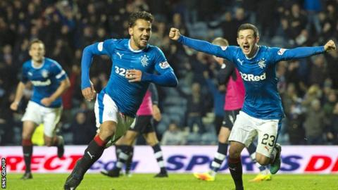 Harry Forrester celebrates his late goal at Ibrox