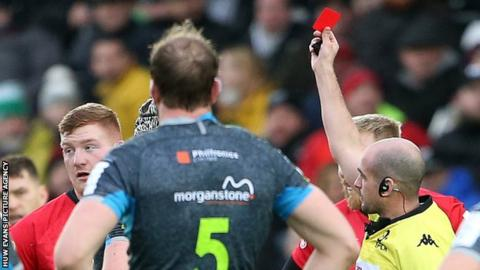 Rhys Carre is sent-off against Ospreys