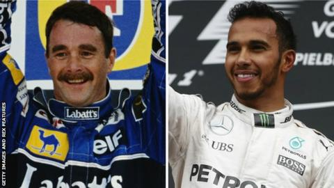 Nigel Mansell and Lewis Hamilton