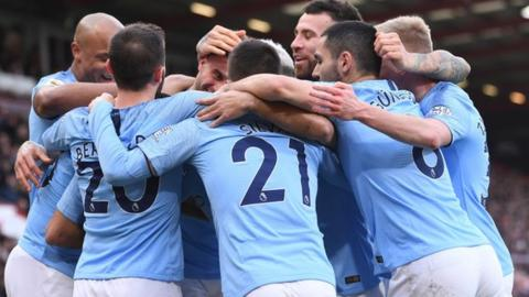 Manchester City won the Premier League with 100 points in 2017-18