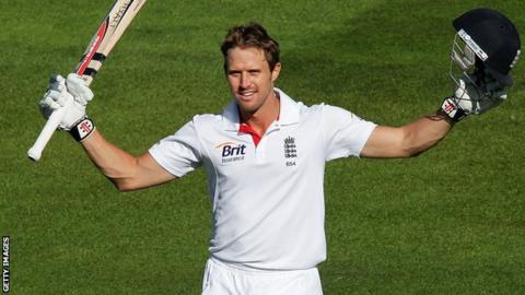 Nick Compton celebrates a century for England