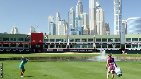 Kelsey Macdonald in first-round action at the Dubai Ladies Classic