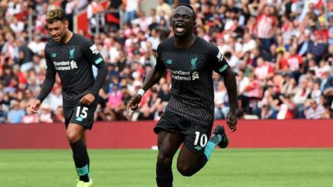 Sadio Mane celebrates scoring for Liverpool against his former club Southampton